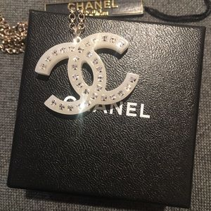 Chanel Large Chain Logo Pendent with crystals